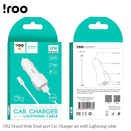[BC-30627] iRoo CR2 | 12W Car Charger /w Lightning Cable