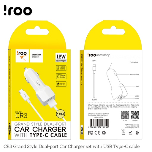 [CR3] iRoo CR3 | 12W Car Charger /w Type-C Cable