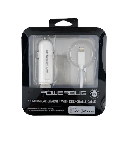 [RCF-R7] Powerbug Apple MFi Approved | Lightning Car Charger
