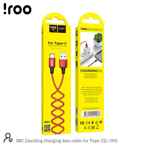 [B8C] iRoo B8C | Super Strong Dazzling USB Cable - Type-C