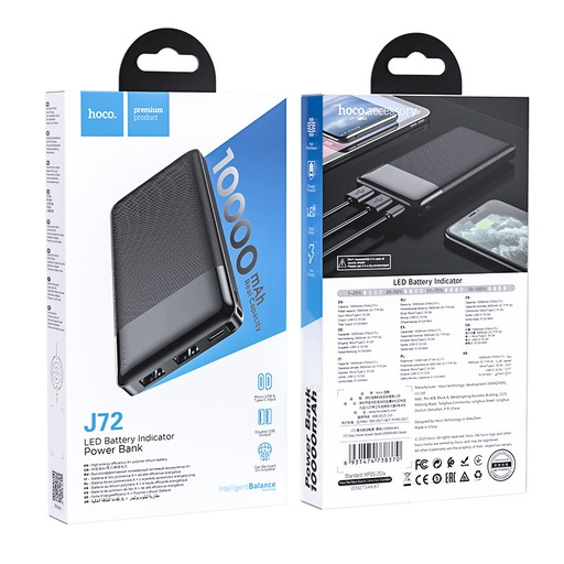[J72] Hoco J72 | 10,000mAh Easy Travel Power Bank - Black