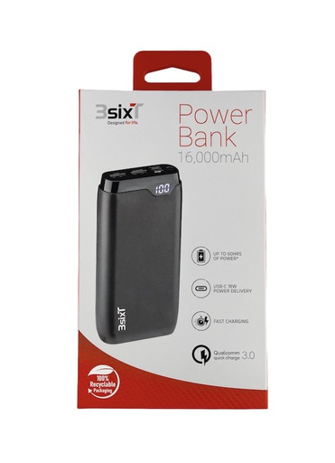 [BC-31853] 3SIXT 18W PD Power Bank | 16,000mAh 2xType-A 1xType-C Ports