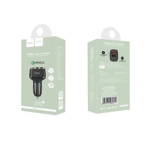[BC-30281] HOCO Z15A Fast QC 3.0 |  3in1 Car Charger (2xUSB, 1xType-C Port) - Black
